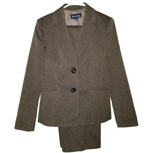 Brown Pant Suit with Button Jacket by Evan Picone